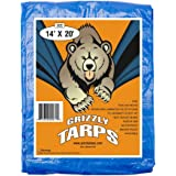 Grizzly Tarps 14 x 20 Feet Blue Multi Purpose Waterproof Poly Tarp Cover 5 Mil Thick 8 x 8 Weave