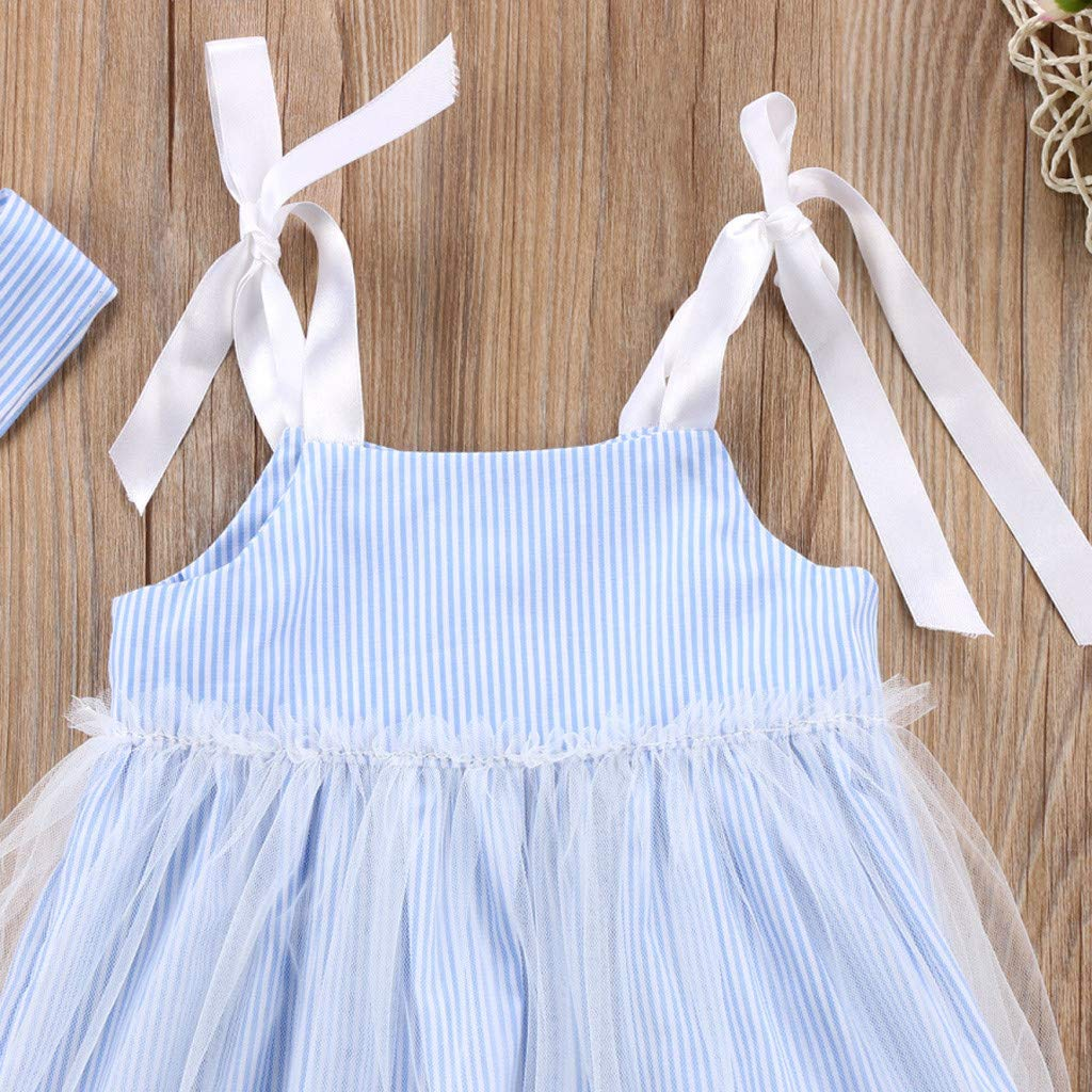 Cute Toddler Baby Kids Sleeveless Straps Striped Lace Tulle Princess Dress Outfits Willsa Girls Dresses