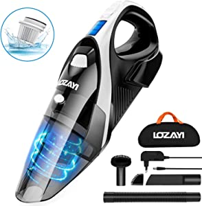 Handheld Vacuum, LOZAYI 7KPA Cordless Hand Vacuum Rechargeable Hand Vac, LED Light 100W Stronger Cyclonic Suction Lightweight Wet/Dry Vacuum Cleaner for Home Pet Hair Car Cleaning