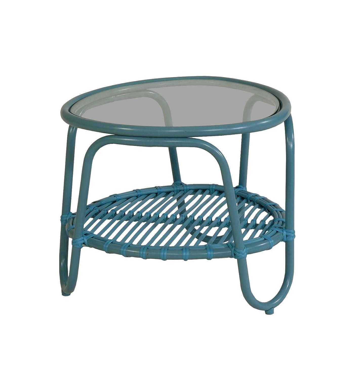 Moderner OUTDOOR Beistelltisch Holiday im Retro-Design / Garten-Tisch aus stabilem Aluminium in Trendfarbe (Orange)