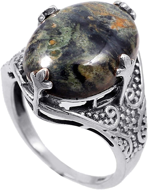 Anillo de plata de ley 925 para mujer|anillo de piedra preciosa natural Jaspe|Banda de boda para las mujeres|Piedras preciosas anillo, anillo de compromiso |Tamaño del anillo 17 (R154)