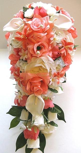 Amazon wedding bouquets bridal silk flowers coral ivory calla wedding bouquets bridal silk flowers coral ivory calla lily cascade 17 piece package wedding bouquet centerpiece mightylinksfo