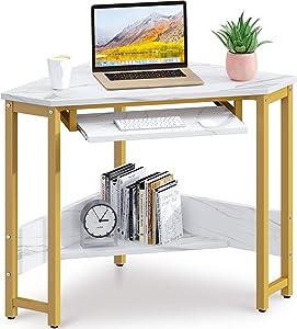 ODK CornerDesk, Triangle Computer Desk, Sturdy Steel Frame for Workstation with Smooth Keyboard Tray & Storage Shelves, Marble