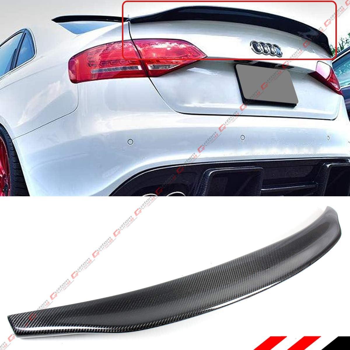 For AUDI A4 B8 B8.5 2009-2016 Rear Trunk Lip Spoiler Wing Painted phantom Black