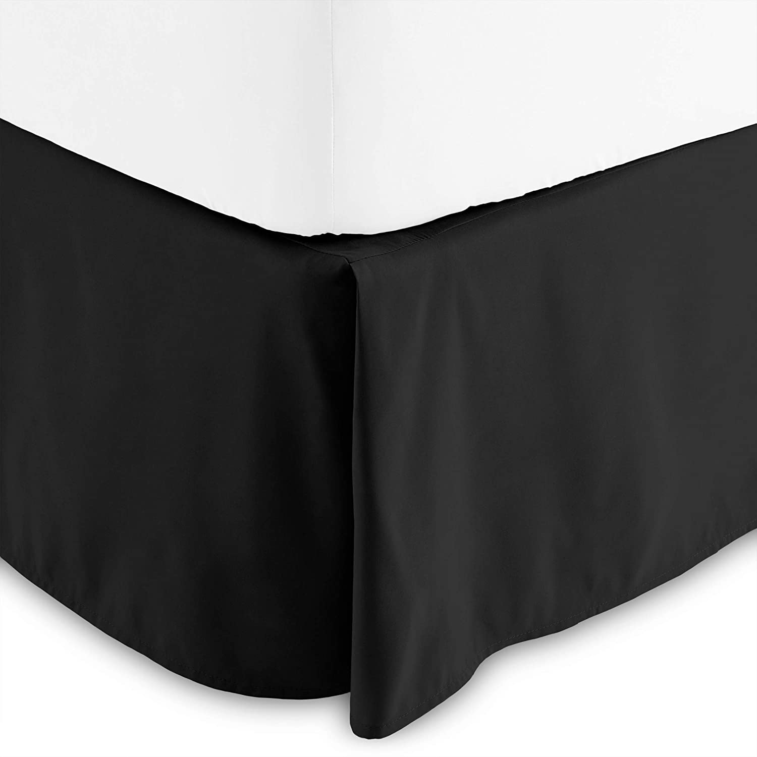 Bare Home Bed Skirt Double Brushed Premium Microfiber, 15-Inch Tailored Drop Pleated Dust Ruffle, 1800 Ultra-Soft Collection, Shrink and Fade Resistant (Full XL, Black)