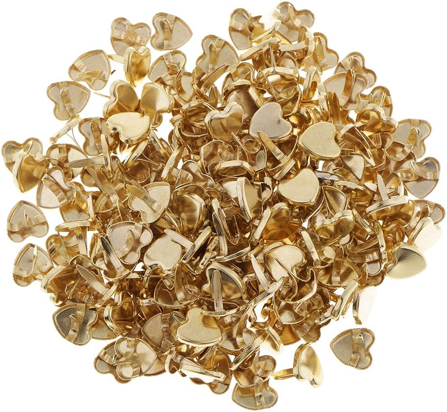 Scrapbooks Card Making LoveinDIY 200Pcs Gold Heart Paper Fasteners Brads for Crafts