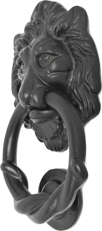 Canadian Fence & Hardware 6.3 Inch Lion Head Front Door Knocker for Decoration, Barn Shed doors, Interior Doors| Perfect Black Antique Door Knocker Lion Handles for Housewarming Gift