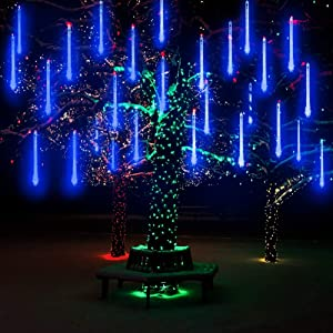 AveyLum LED Meteor Shower Lights Blue 30cm 8 Tube 144 LEDs Snow Falling Raindrop Cascading Lighting for Wedding Xmas Garden Tree Decor