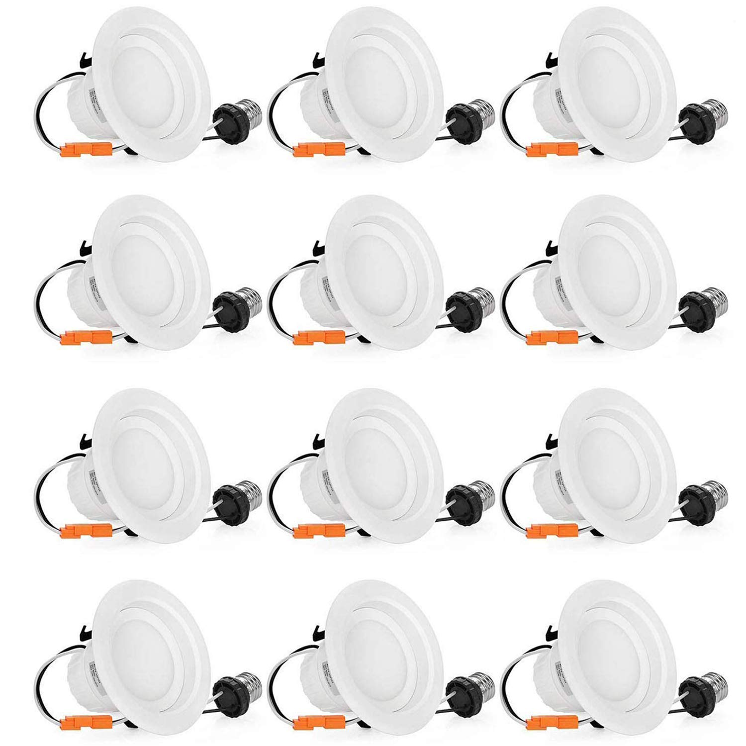 4 Inch LED Recessed Lighting 65W Equivalent Dimmable 4in LED Downlight 9W, 4000K Daylight White, 780LM Retrofit LED Recessed Lighting Fixture, 12-Pack