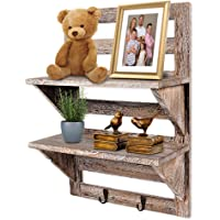 Rustic Wall Organizer by DecoLife handmade 100% wood 2 shelf with 2 brass hooks, in vintage style fatigued wood perfect home decoration