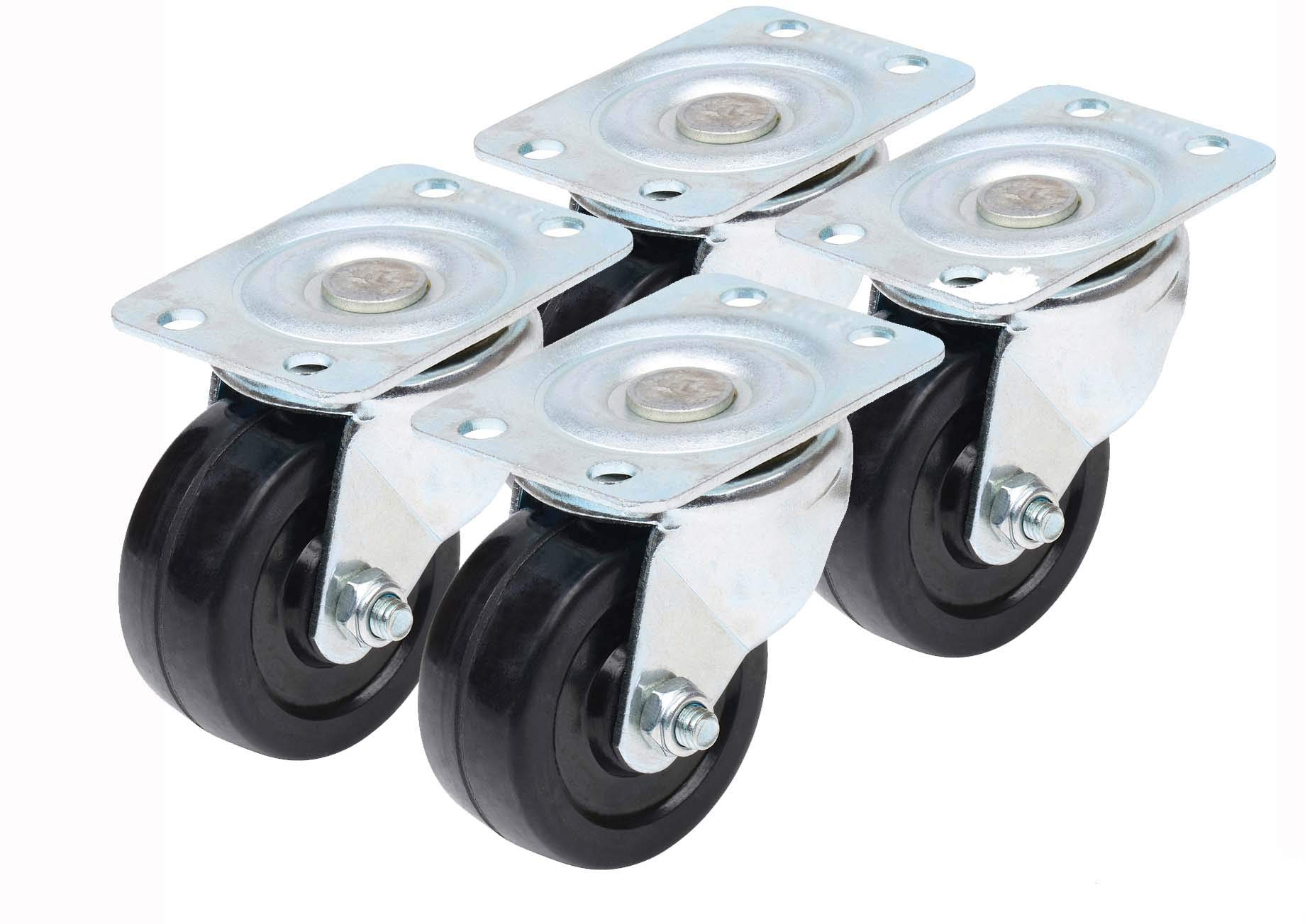 Caster Classics 2-inch Low Profile HD Rubber Wheel Plate Casters - 4-Pack by Caster Classics