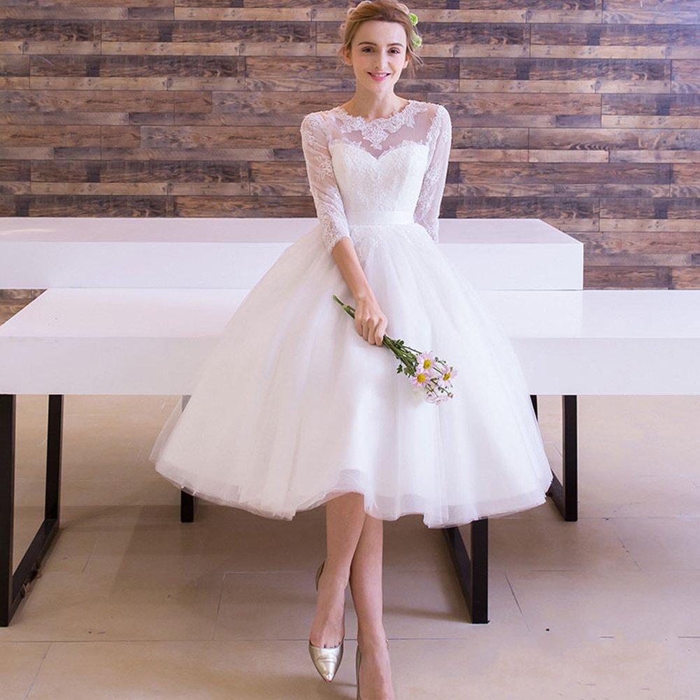 Lemai Tulle Lace Tea Length Informal Beach Short Bridal Reception Wedding Dresses
