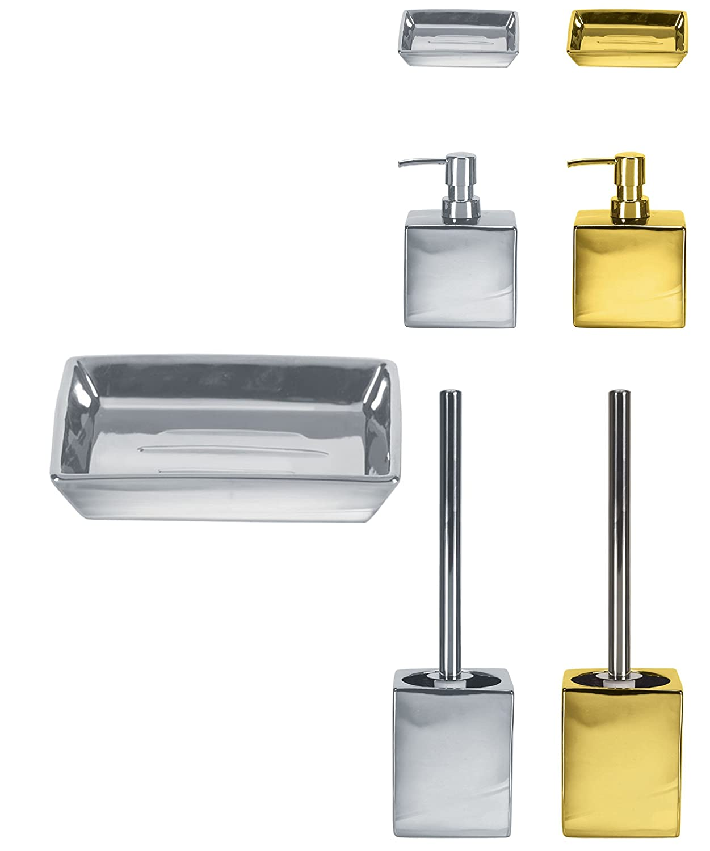 KW Glamorous - Escobilla y soporte para inodoro, dispensador de jabón, dorado, Soap Dispenser