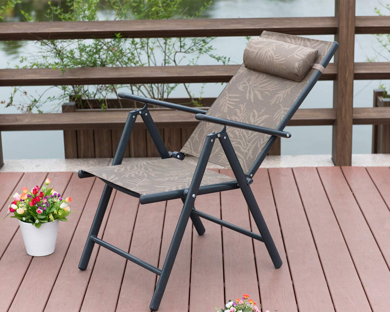 PatioPost Outdoor Adjustable Folding Recliner Aluminum Patio Sling Chairs with 7 Stalls, Set of 2 - Jacquard by PatioPost (Image #7)