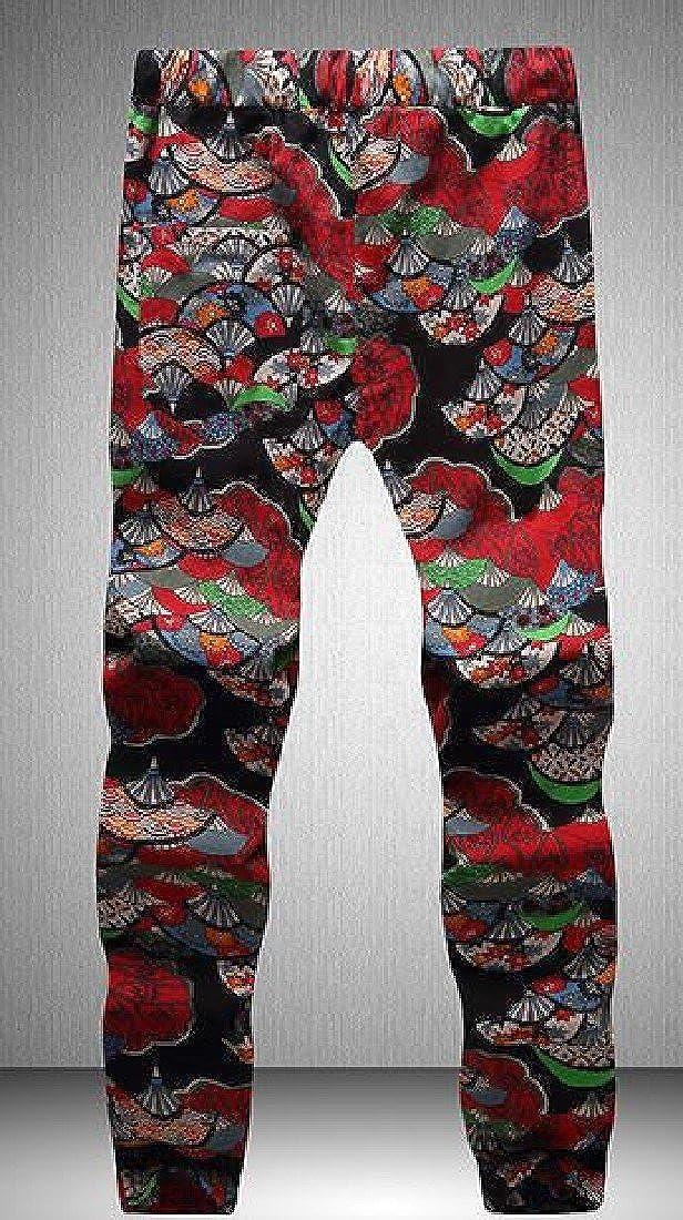 VITryst-Men Oversized Jacquard Drawstring Soft and Warm Work Pants