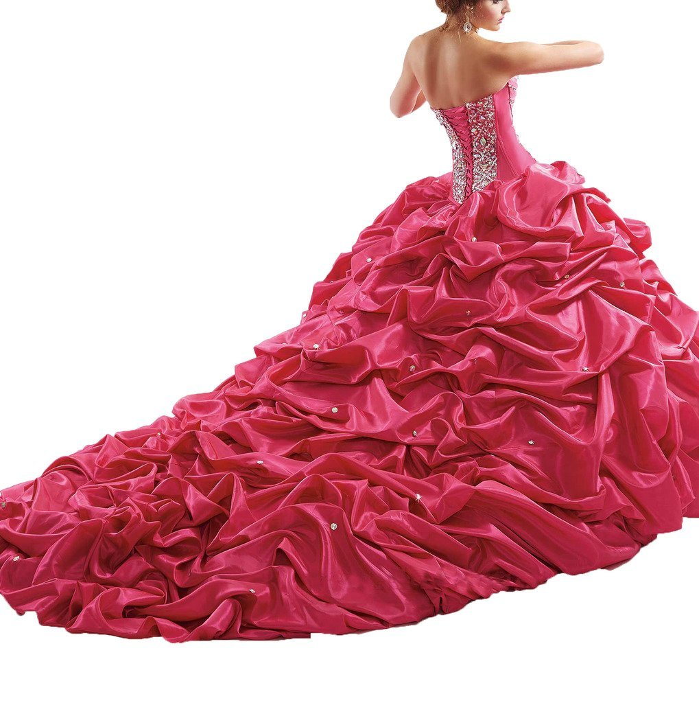 Oudy Women's Chapel Train Prom Ball Gown Rhinestone Strapless Quinceanera Dress 14 US Hot Pink