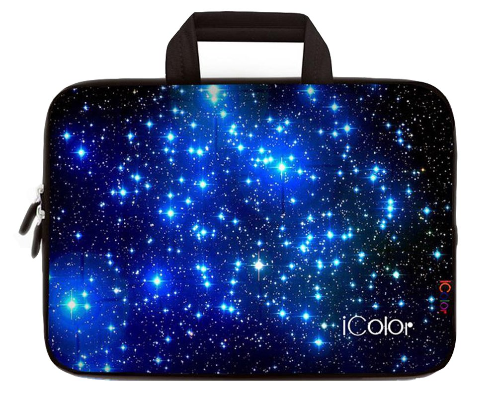 iColor Starry Ultra-Portable Neoprene Carrying Protective Case Sleeve Briefcase Pouch Bag Tote with Handle Fits 11.6 12 12.1 12.2 Inch Netbook / Laptop (IHB12-003) by ICOLOR