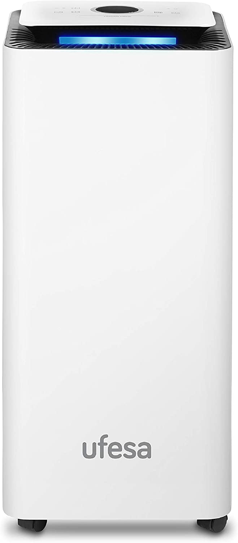 Color Blanco//Negro Ufesa DH5020 Filtro Antipolvo,Tubo de Drenaje Continuo Deshumidificador 200 W Dep/ósito 2 L Funci/ón Secado Ropa Silencioso con Panel Intuitivo