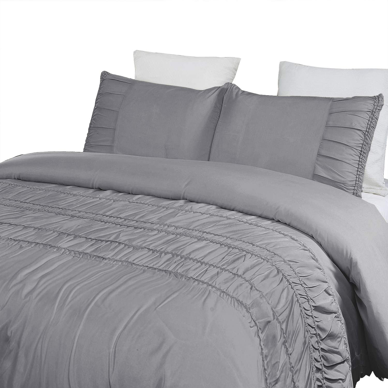 Vaulia Soft Microfiber Duvet Cover Set, with Decorative Pintuck Pleated Design, Grey Color Queen Size - 3 Piece Set