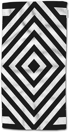 Geometric Striped Towels~Black Bath//Hand Towel//Face Cloth White /& Gray Select