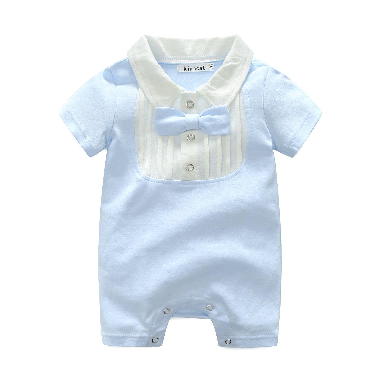 FCQNY Infant Baby Boys Gentleman Bowknot Summer Short Sleeve Cotton Snap Romper