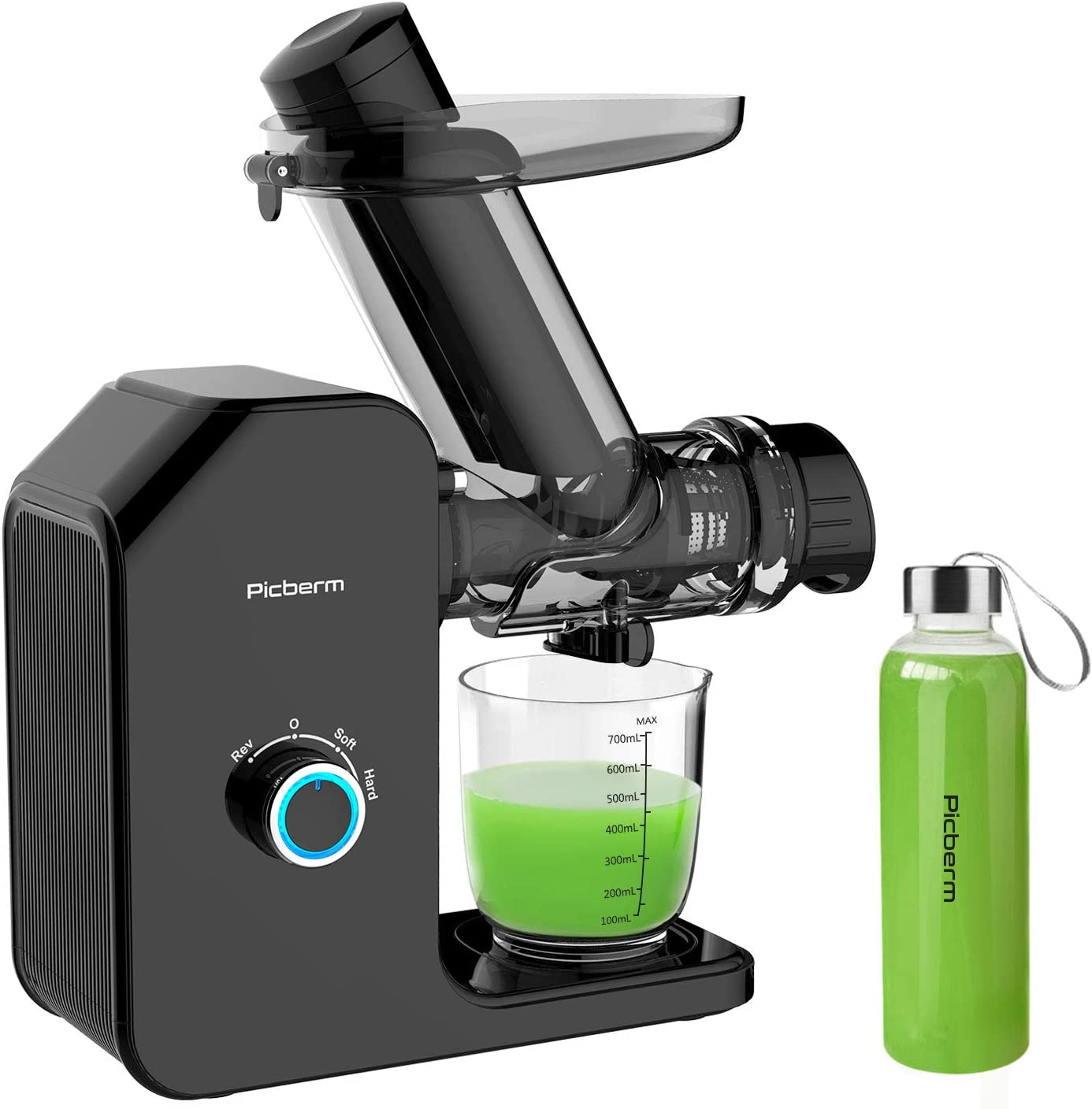 Juicer Machines, Picberm Slow Masticating Juicer Easy to Clean, Wide Chute Cold Press Juicer Extractor for Vegetable and Fruit, BPA-Free Anti-drip Juicers with Brush & Quiet Motor - Black with Bottle