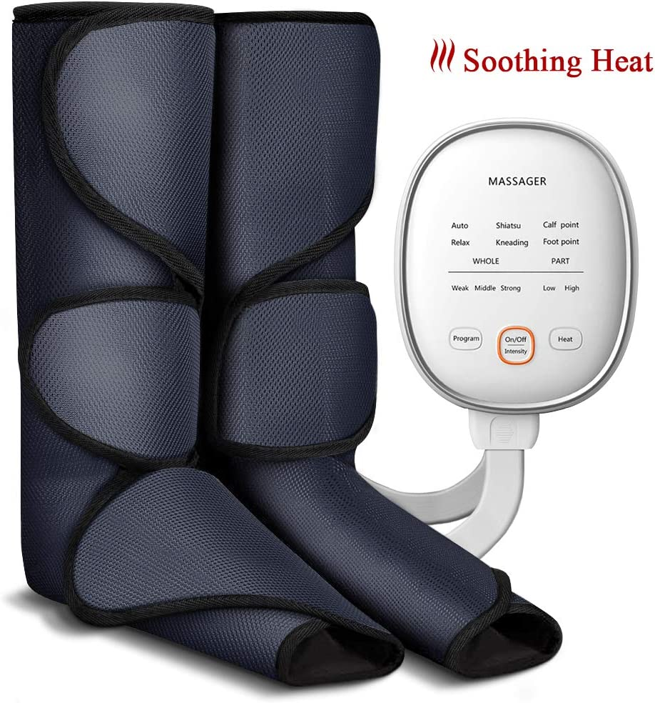 Leg Massager Air Compression Foot and Calf Massage with Heat for Circulation Compression and Relaxation, 6 Modes 3 Intensities and 2 Temperatures