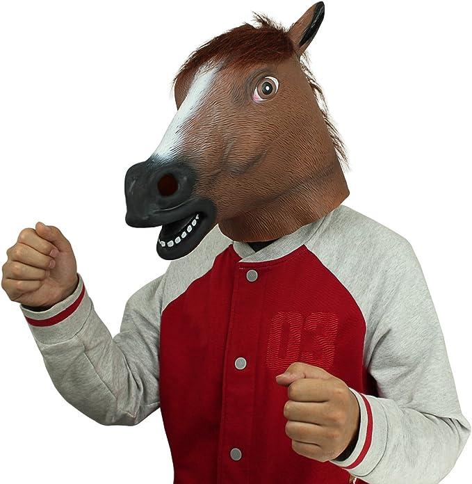 Amazon.com: Máscara de cabeza de caballo de lá ...