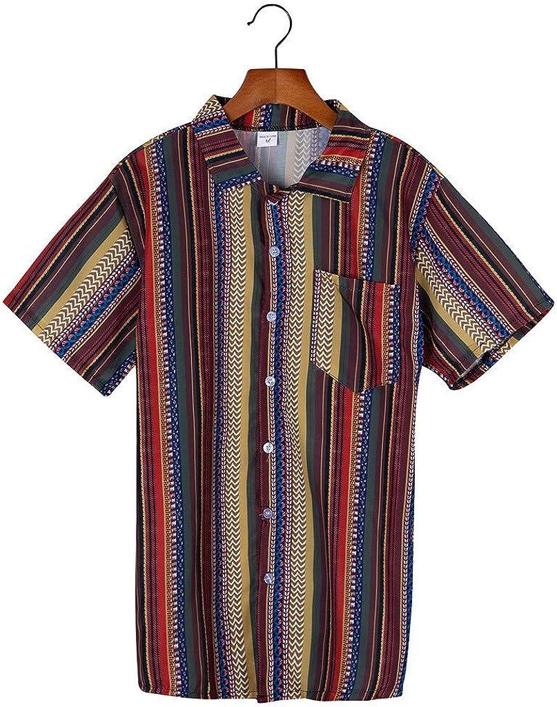 Camisa Henley Hombres Impreso Etnico Collar Soporte Empalme Raya de Colores Manga Corta Suelto Tops Type A: Amazon.es: Ropa y accesorios