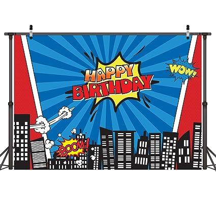 LYWYGG 7x5FT Vinilo Colorido Fotografía Telón de fondo Edificios de la ciudad Dibujos animados Superhéroe Cumpleaños Cumpleaños Niños Photocall para ...