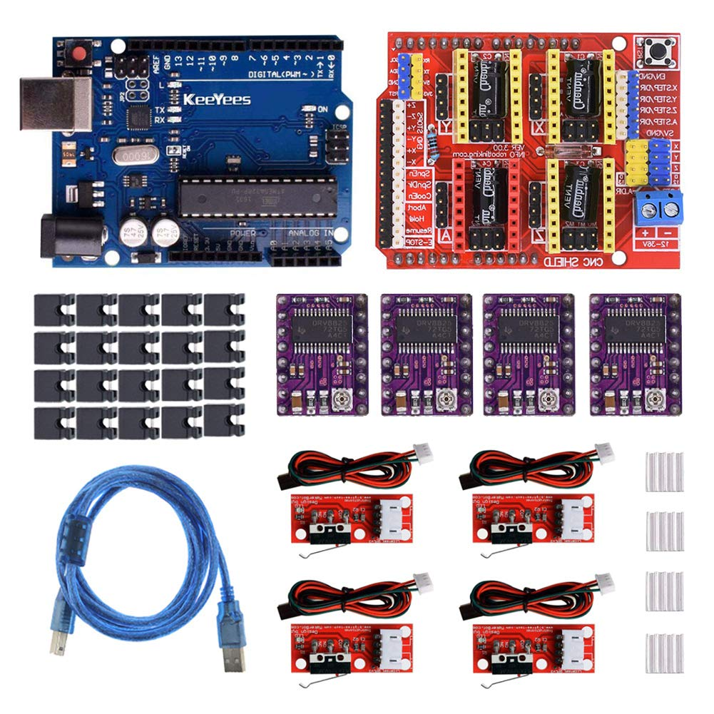 KeeYees Profesional Impresora 3D CNC Kit para arduino con tutorial, CNC Shield V3 con Jumper Caps + 4Pcs RAMPS 1.4 Mechanical Switch Endstop y DRV8825 GRBL Stepper Motor Driver
