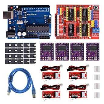 KeeYees Profesional Impresora 3D CNC Kit para arduino con tutorial, CNC Shield V3 con Jumper Caps + 4Pcs RAMPS 1.4 Mechanical Switch Endstop y DRV8825 ...