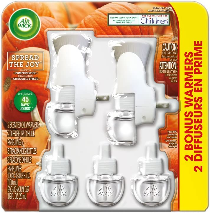 Air Wick Holiday Scented Oil Kit (2 Warmers + 5 Refills), Pumpkin Spice