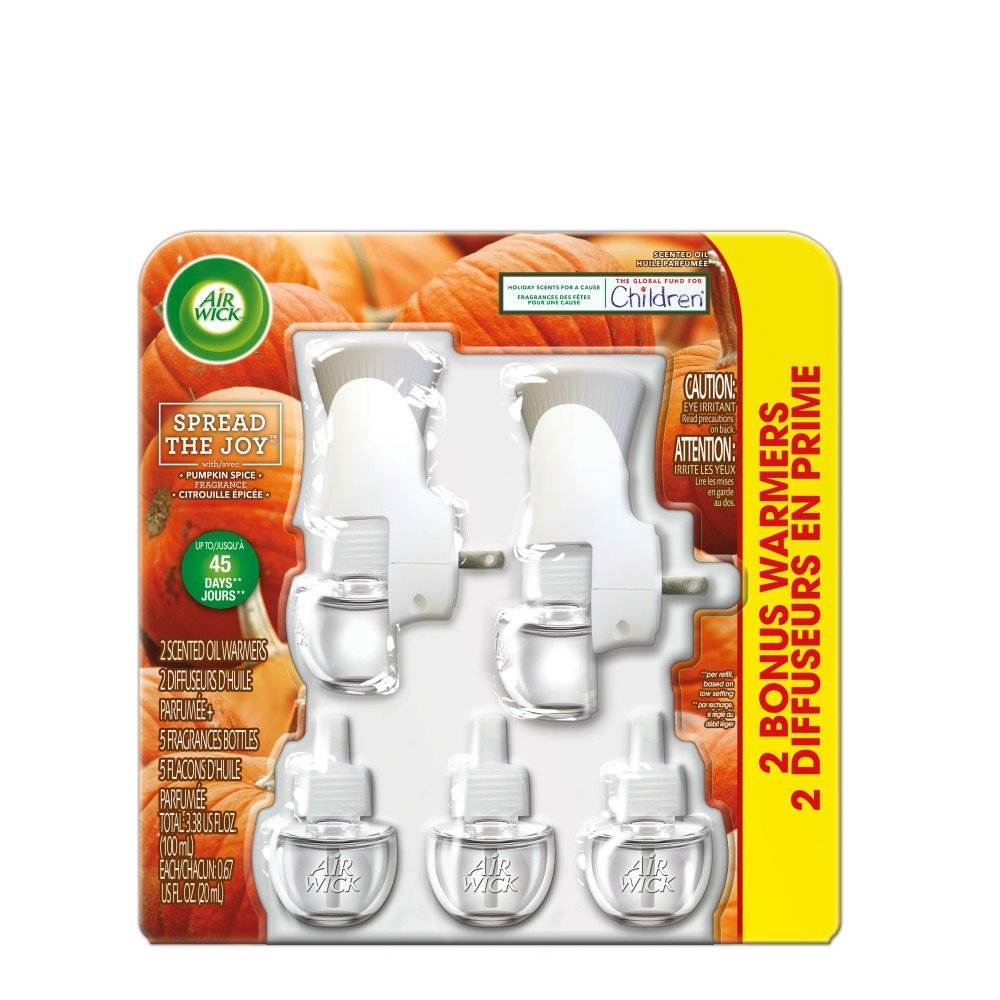 Air Wick Holiday Scented Oil Kit (2 Warmers + 5 Refills), Pumpkin Spice, Air Freshener