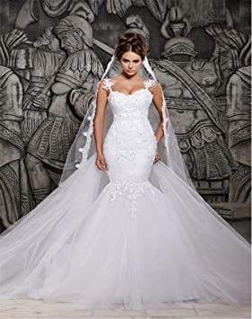 LUCKY-U Mujer Vestido de novia Vestido de novia Largo Flor de encaje Fiesta Regalo