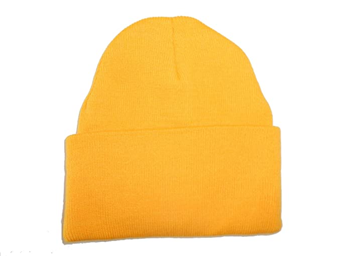 b21acbfbc51f1c Image Unavailable. Image not available for. Color: Yellow-Gold Long Beanie  / Knit Ski Hat / Warm In Winter!