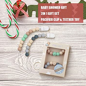 Pacifier Clip Baby Boys Silicone Paci Clip Teething Relief Teether Toy Soothie Binky Holder BPA Free Chewbeads Birthday Christmas Shower Gift Set of 2 ...