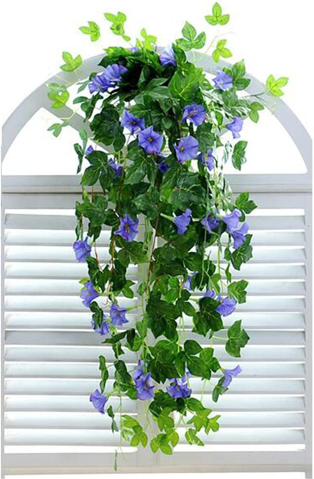 """XHSP 2 Bunches Artificial Vines 35.4"""" Morning Glory Hanging Plants Silk Garland Fake Green Plant Home Garden Wall Fence Stairway Outdoor Wedding Hanging Baskets Decor"""