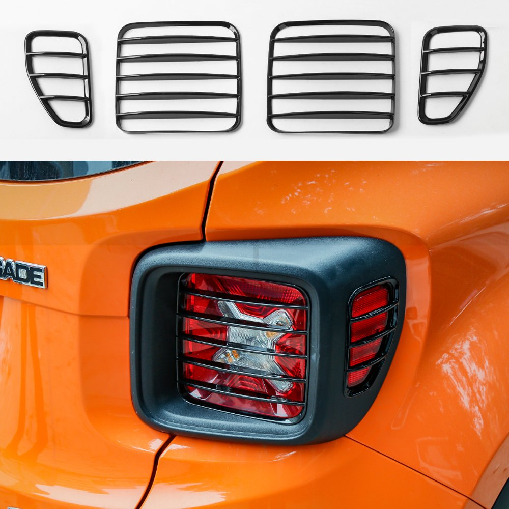 KUJOOY ABS Black Tail Light Decor Frame Cover Trim for Jeep Renegade 2016 up