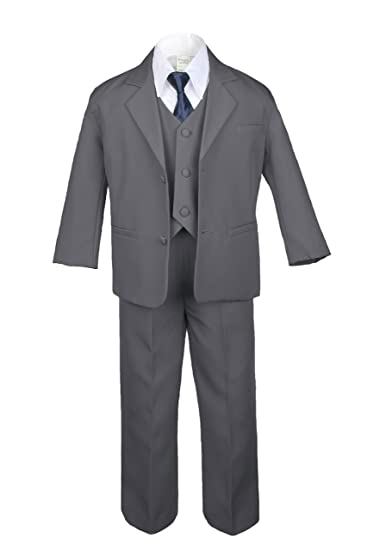 Amazon.com: leadertux 6pc Formal niños chaleco gris oscuro ...