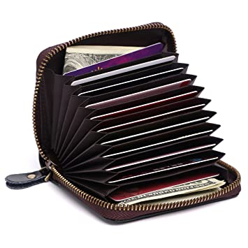 various colors 768b0 2d02b APHISONUK RFID Accordion Style Leather Credit Card Holder RFID Blocking  Safe Wallet Zipper Around Latest Block Security Travel Mini Wallets/Holder  ...