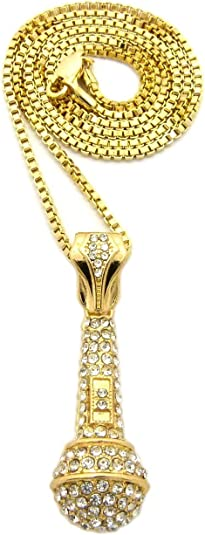 Charm Necklace Microphone Pendant Chain Fake diamonds Metal alloy Jewelry Gift