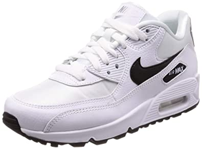 6eaafa74a7 Nike Women's WMNS Air Max 90 Running Shoes, (White/Black/Reflecting Silver
