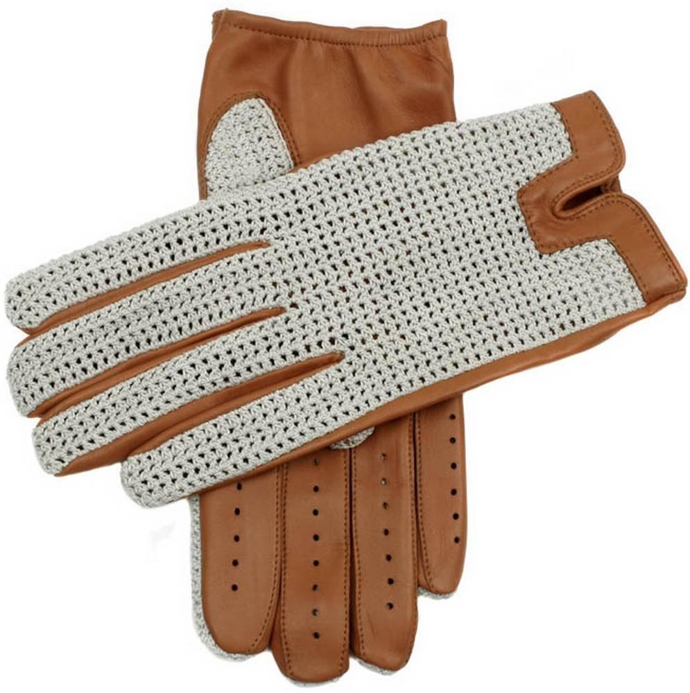 Cork Donnington Crochet Back Driving Gloves by Dents - Large