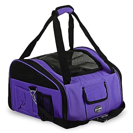 PrettyGal Bolsa Portador Transportín Plegable Caseta Portátil de Viaje para Perros Gatos (Púrpura)