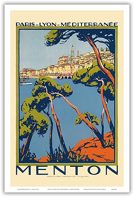 MEDITERRANEAN SERVICES vintage FRENCH train travel poster SHIPS ocean 24X36