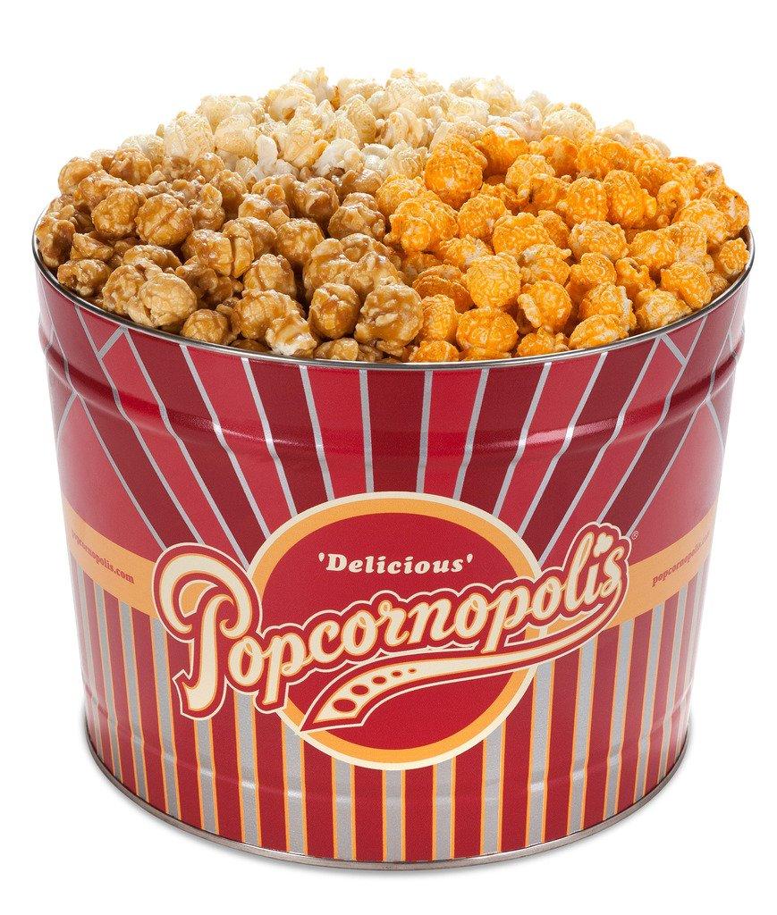 Popcornopolis Gourmet Popcorn 2 Gallon Tin - Classic Including Caramel, Cheddar Cheese and Kettle Corn