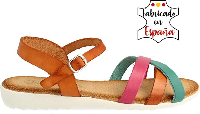 Sandalia Plana de Piel con Planta de Gel. Pala compuesta por Tiras de Piel Cierre de Hebilla en el Tobillo. Altura:2 cm.: Amazon.es: Zapatos y complementos