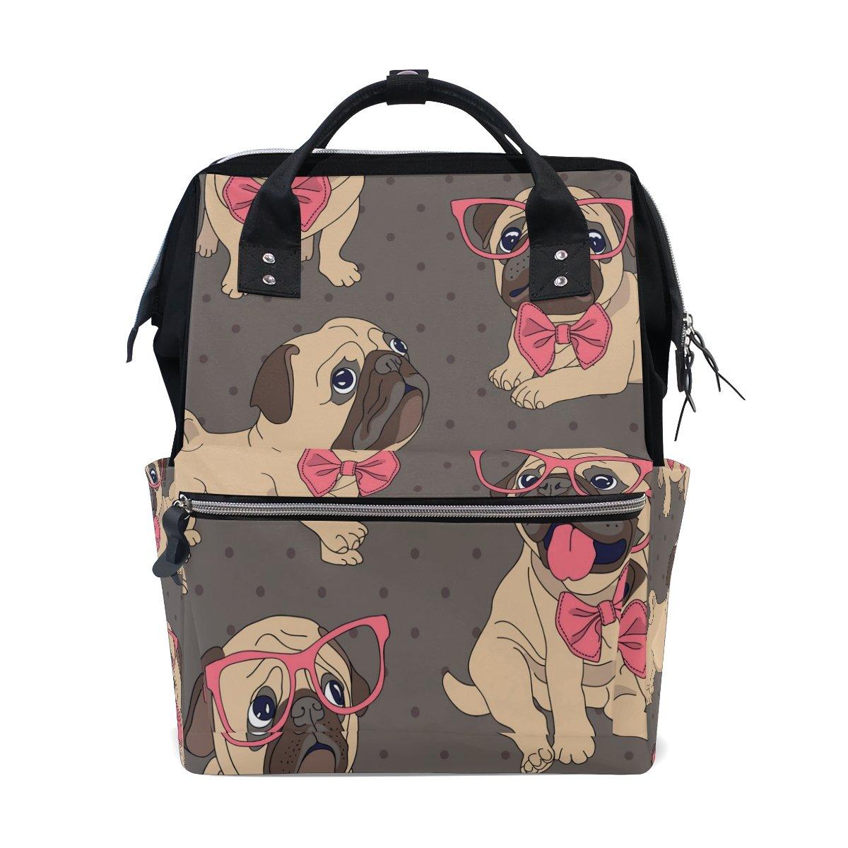 Wozo Cartoon Pug Puppy Glasses Polka Dot多機能おむつバッグバックパック旅行バッグ   B07D6D7K5N