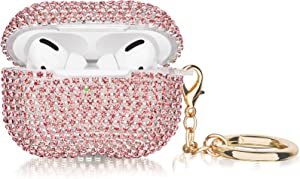 Case for Airpods Pro, Filoto Cute AirPod Pro Case Cover for Women Girls, Bling Crystal TPU Airpod 3 Protective Accessories with Lobster Clasp Keychain for Apple Air Pods Pro Charging Cases (Rose Gold)